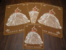 ROMANY GYPSY WASHABLE NEW 2017/18 SET OF 4 MATS/RUGS GYPSY BRIDES BISCUIT BEIGE